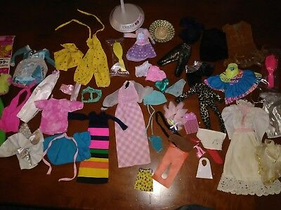 Vintage Barbie Doll Clothes And Accessories Lot-50 Pieces