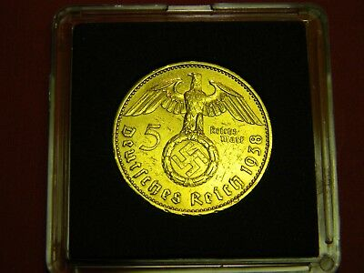 1936-1939 24k Gold  Plated German 5 Mark Silver Coin