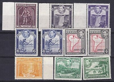 British Guiana 1938 collection of 10 various perfs mint hinged