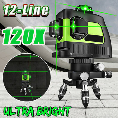 Green 12 Lines Laser Level 3D Auto Self Leveling 360° Horizontal Rotary Cross