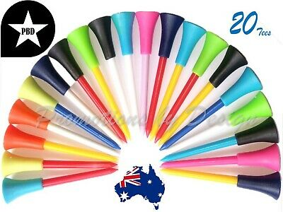 20 Durable Golf Tees Plastic with Non-Slip Rubber Top Quality 83mm -FAST POSTAGE