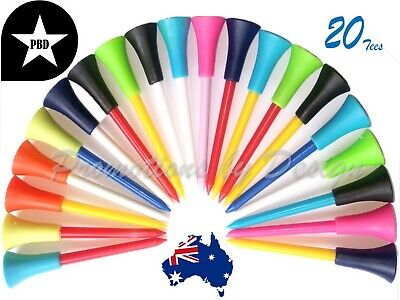 20 Durable Golf Tees Top Quality Color Plastic & Non-Slip Tops 83mm FREE POSTAGE