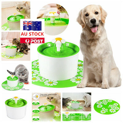 Electric Automatic Pet Dogs Cat Water Drinking Fountain Bowl Filter Tank AU Plug
