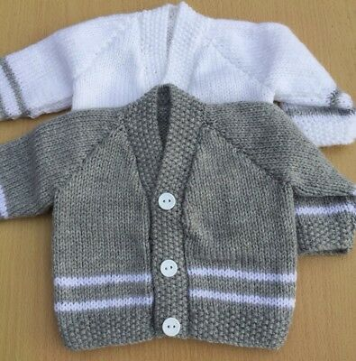 New Hand Knitted Baby Boy Cardigan Gift Set. Two Cardigans In Set. 0-3 Months.
