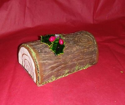 Paper Mache half log candy container/ for collectibles display meduim