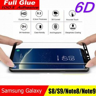 6D Samsung Galaxy S9+ S8 Plus Note 8/9 Tempered Glass Full Glue Screen Protector