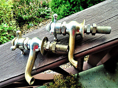 Pair Of Antique Nickel Plated Brass Faucets; Peck Bros & Co., New Haven, Ct.