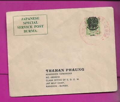Burma   Peacock  Overprint  On  Japanese  Occupation  Cover