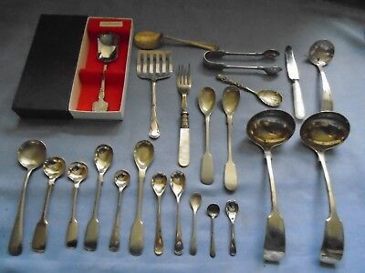 Job Lot Vintage Cutlery 23 Silver Plated Etc Caddy  Salt  Mustard Spoons Ladles
