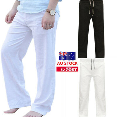 Mens Drawstring Cotton Linen Long Pants Casual Yoga Sport Beach Slacks Trousers