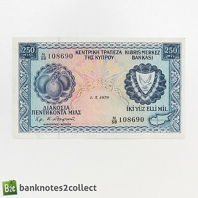 CYPRUS: 1 x 250 Cypriot Mils Banknote. Dated 01.05.78.