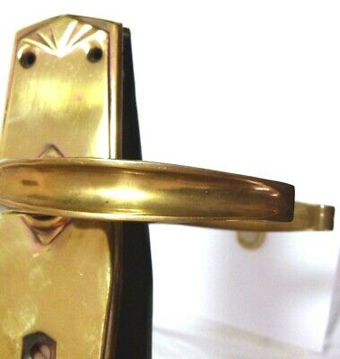 Three Pairs Vintage Brass Lever Art Deco Handles Backplates 1920S-30S