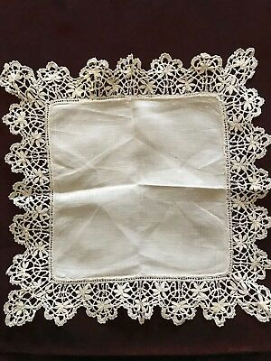 "French antique BRIDAL Linon HANDKERCHIEF with BOBBIN LACE EDGING 9 1/4"" square"