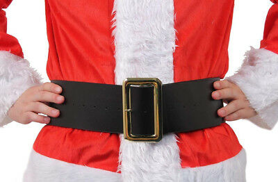 Deluxe Leather Look Belt Thick Gold Buckle Santa Claus Pirate Costume Accessory