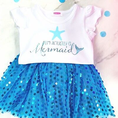 Girls Mermaid Outfit with Sequin Tutu, Sparkly Shirt and Hair Bow for  2-8 yrs