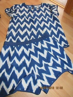 Girls 2 Piece Set Shorts And Top Blue Aztec Age 10 Next