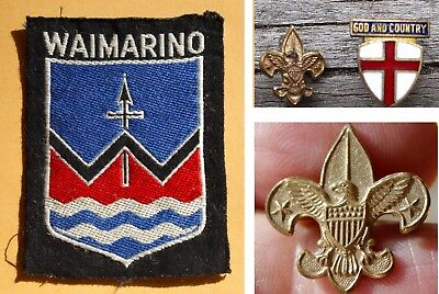 Vintage US Boy Scout Pins & Waimarino District Badge New Zealand, Early 1960s