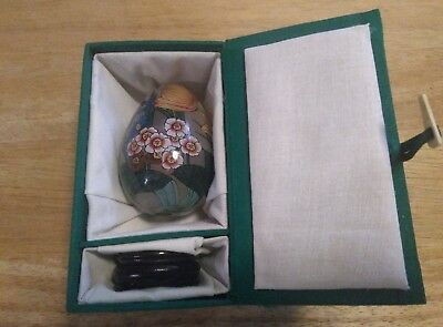 Beautiful Reverse Handpainted Chinese Glass Egg with Case And Stand, Wow!