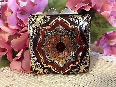 Vintage Brown And Gold Faux Leather Powder Compact Made In Italy