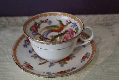 Tea Cup And Saucer With Exotic Bird- Made In England