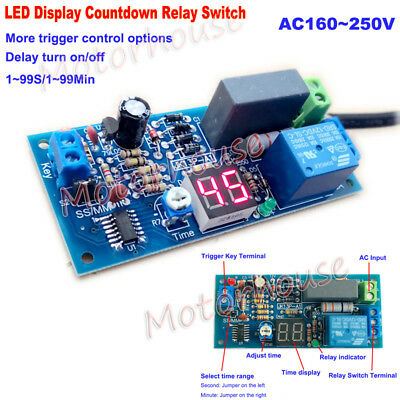 LED Display AC 220V 230V Trigger Countdown Time Relay Switch Delay Timer Module