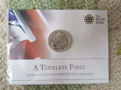 2013 UK £20 Fine Silver Coin Royal Mint A Timeless First The George & The Dragon