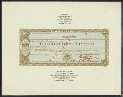 "Great Britain: 1950s District Bank RARE IMAGES £5 ""SPECIMEN"" TRAVELLERS' CHEQUES"