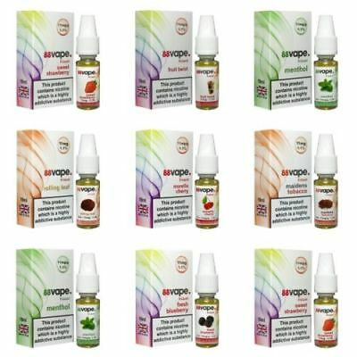 Kik E-Liquid 88VAPE VALUE Pack of 10 E-Liquids BULK BUY MADE IN THE UK