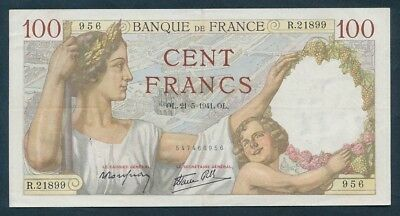 """France: WWII 21-5-1941 100 Francs """"ATTRACTIVE TYPE NOTE"""". P94 NVF - Cat VF $46+"""