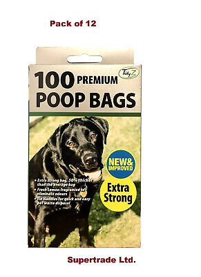 12 X 100 Fragranced Dog Poo Bags Scented Doggy Bags Strong Large Tie Handles
