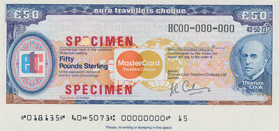 "Great Britain: 1983 Thos Cook & Mastercard £50 ""SPECIMEN"" EURO TRAVELLERS CHEQUE"