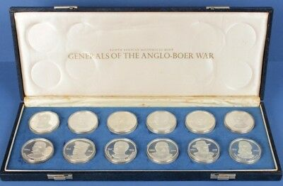 South Africa: Generals of Boer War 12 x 40g 925 Silver Medal Coll'n, Cased. RARE