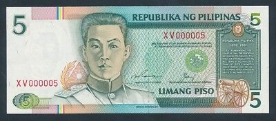 """Philippines: 1992 5 Piso RARE LOW SERIAL NUMBER """"XV 000005"""". Pick 168e"""
