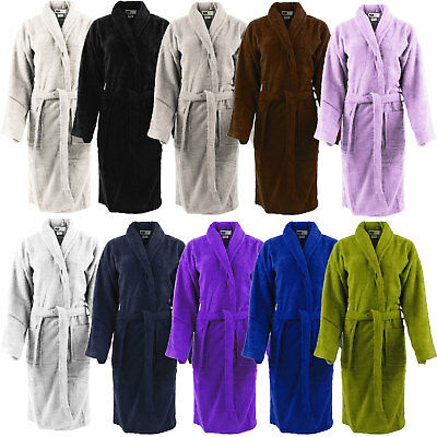 Mens   Ladies 100% Cotton Terry Towelling Shawl Bathrobe Dressing Gown Bath  Robe 8352b68ca