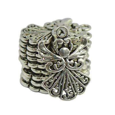 50x Silver Fairy CHRISTMAS XMAS Pendants Charms Lovely Hollow Angel Findings