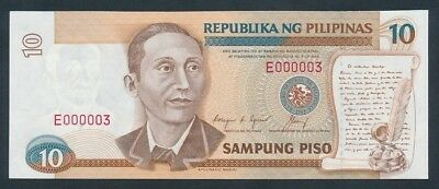 """Philippines: 1992 10 Piso RARE LOW SERIAL NUMBER """"E 000003"""". Pick 169d"""