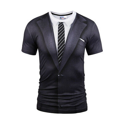 Mens Funny 3D Tuxedo Suit T Shirt Casual Tie Tee Short Sleeve Fashion Blouse Top