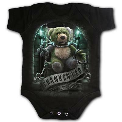 SPIRAL DIRECT Frankented babygrow/baby grow/sleep suit biker/horror/Frankenstein