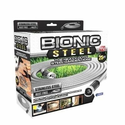 25ft-Heavy-Duty-Stainless-Steel-Garden-Hose-Flexible-Outdoor-Watering-Equipment