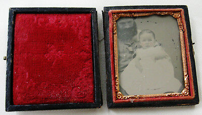 Antique Ambrotype In Case Cute Baby On Lap Of Partially Hidden Bearded Father