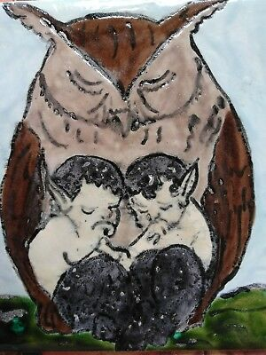 Owl and Faun, baby satyr, 6X6 Tile Kiln Fired Glazed Colors Art Handpainted OOAK
