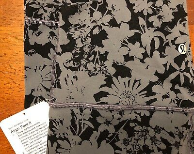 NWT LULULEMON Align Pant ll 7/8 Size 4 black and gray pattern
