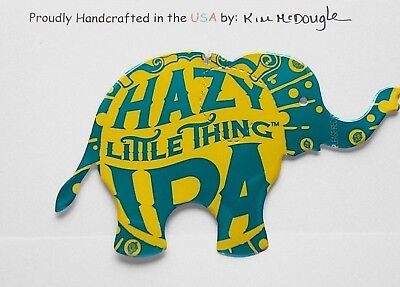 Elephant Christmas Ornament Handmade Recycled Aluminum Metal Hazy IPA Beer Can