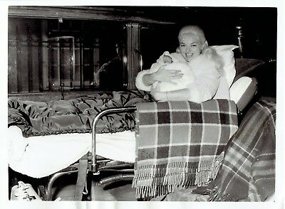 1960 Vintage Photo Diana Dors & son Mark ride in ambulance from London Clinic