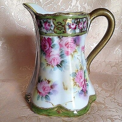 "NIPPON HP 5"" Floral CREAMER PITCHER Pink Roses ~ Green Maple Leaf Mark 1891"