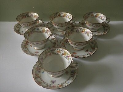 6 Schumann Empress Dresden Flowers Footed Cup & Saucer Sets - 2 Sets Available