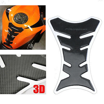1x 3D Motorcycle Tank Pad Protector Sticker Motorbike Decal Scratch Carbon Fiber
