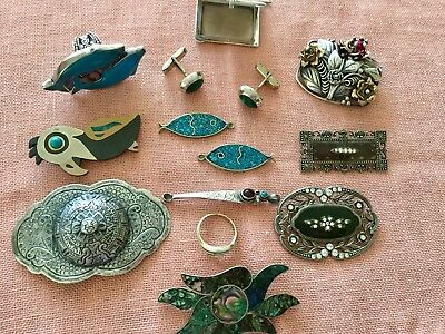 Nice Vintage Lot Jewelry Brooches Pendants Rings Photo Case Mostly Sterling