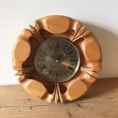 Vintage Solid Chunky Carved Wooden Clock Brass Face YORKSHIRE ROSE 30cm
