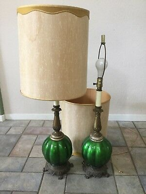 Two Vintage Green Glass Lamps